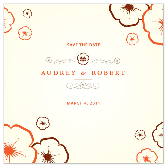 save the date cards - Plum Blossoms by David Sutoyo