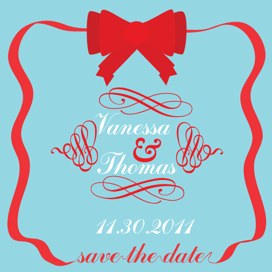 save the date cards - Christmas Ribbon by Mary Veterano