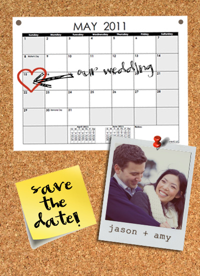 save the date cards - Don't forget corkboard by zori levine