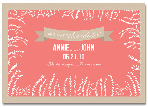 save the date cards - Foliage Frame by Tickled Ink Paperie