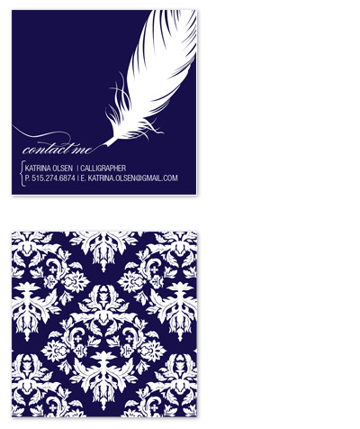 business cards - Calligraphy a la Couture by Jordan Beynon