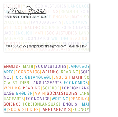 business cards - Teacher For Hire by GarriguesGraphics