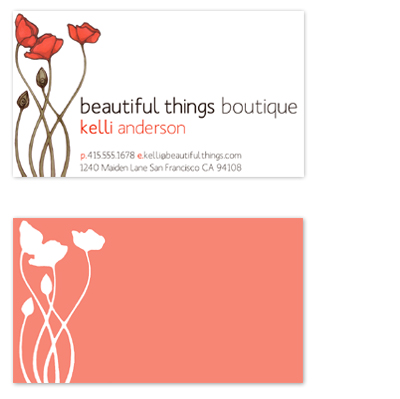 business cards - Bright Poppies by Kiri Moth