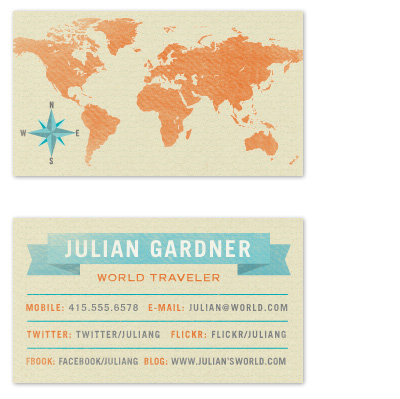 business cards - World Traveler by June Letters Studio