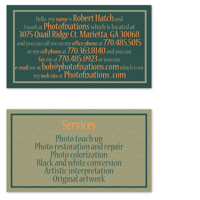 business cards - Just the facts by Robert Hatch