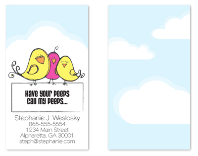 business cards - Pink and Yellow Peeps by www.project1128.com