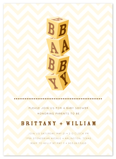 shower invitations - Baby Blocked by Chelsea Marsh