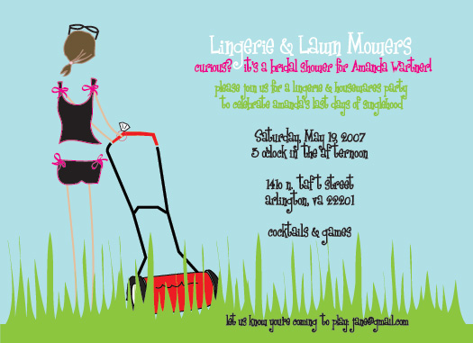 shower invitations - Lingerie & Lawn Mowers by Weddings and Wellies