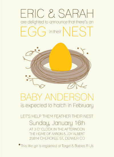 shower invitations - An Egg in the Nest by Alison Faulkner