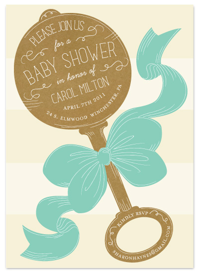 shower invitations - Vintage Rattle by Laura Hankins