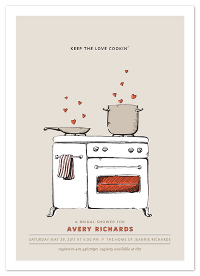 shower invitations - keep the love cookin by pottsdesign