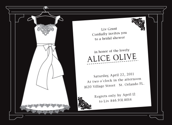 shower invitations - White code by Tassi Olive