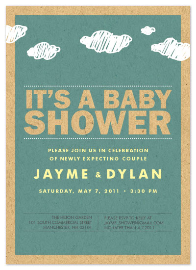 shower invitations - it's raining babies by freshead creative