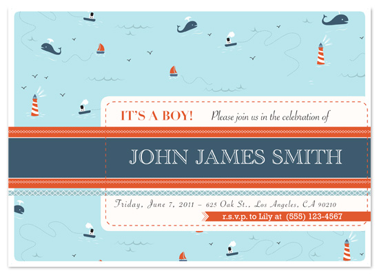 shower invitations - Nautical Baby Shower by Zoe Proser