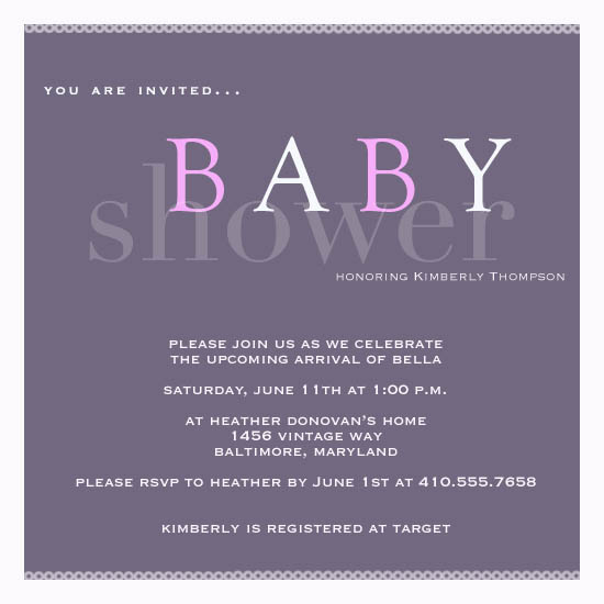 shower invitations - Purple Passion by a visual concept