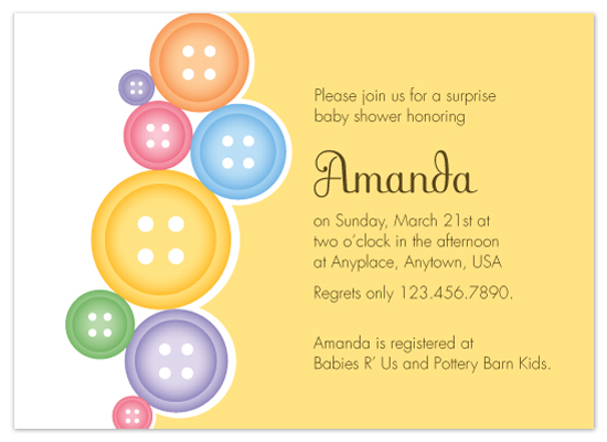 shower invitations - Cut as A Button by Bridget Collins