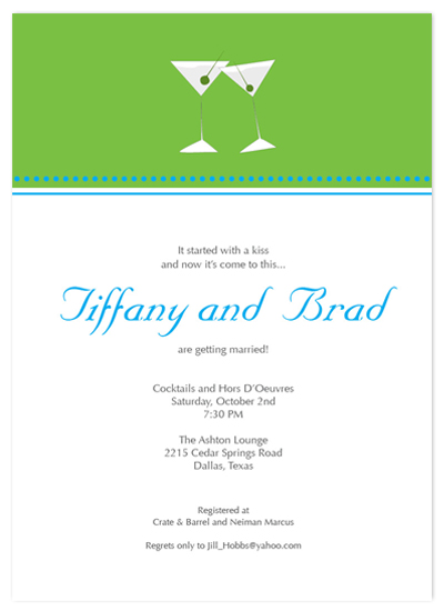 shower invitations - Martini Kisses by Simple Groovy
