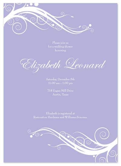 shower invitations - Lavender Swirl by Simple Groovy