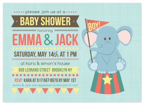 Shower Invitations Baby Circus