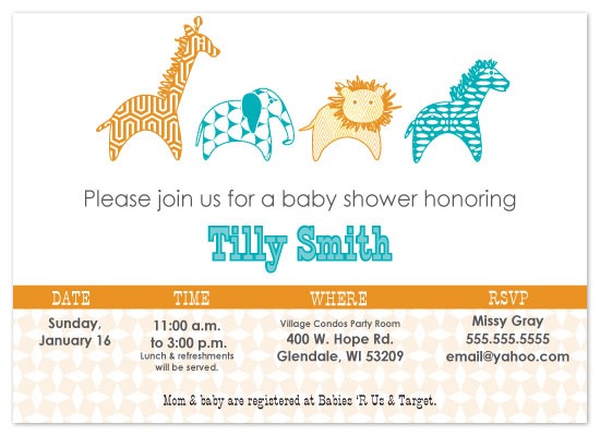 shower invitations - Mod day at the Zoo by Melissa DeBuck