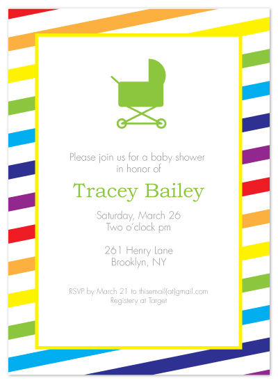 shower invitations - Roy G Biv Baby Shower by Kerry Batty