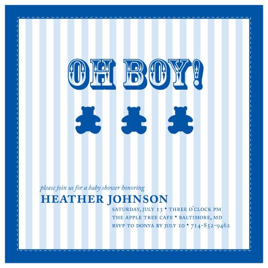 shower invitations - Blue Stripe Baby Blanket by Joyful Heart Design