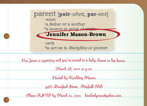 shower invitations - New Parent by Ms. P