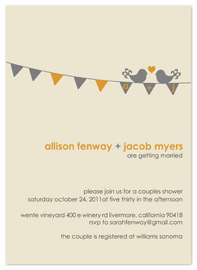 shower invitations - Love Birds by Amy Jazwinski