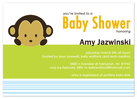 shower invitations - Peekaboo Monkey by Amy Jazwinski
