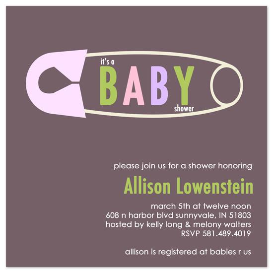 shower invitations - Safety Pin by Amy Jazwinski