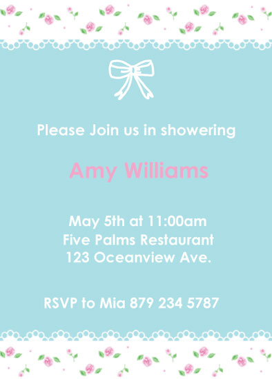 shower invitations - something blue , something floral by moema