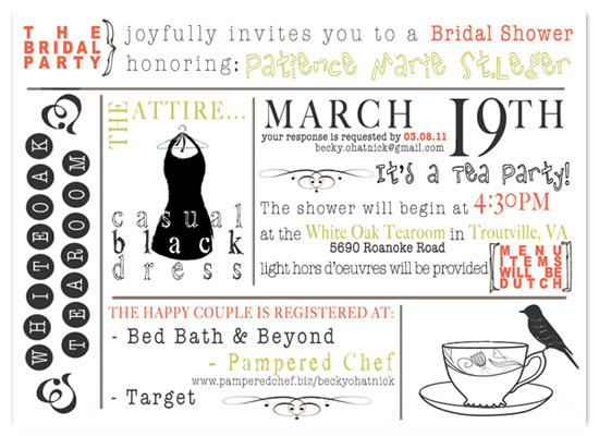 shower invitations - It's A Tea Party by Becky OHatnick