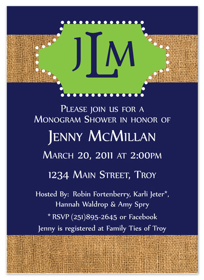shower invitations - Monogram Shower  by Amy Pearson