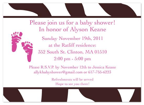 shower invitations - Zebra Baby by Christine Arrigo