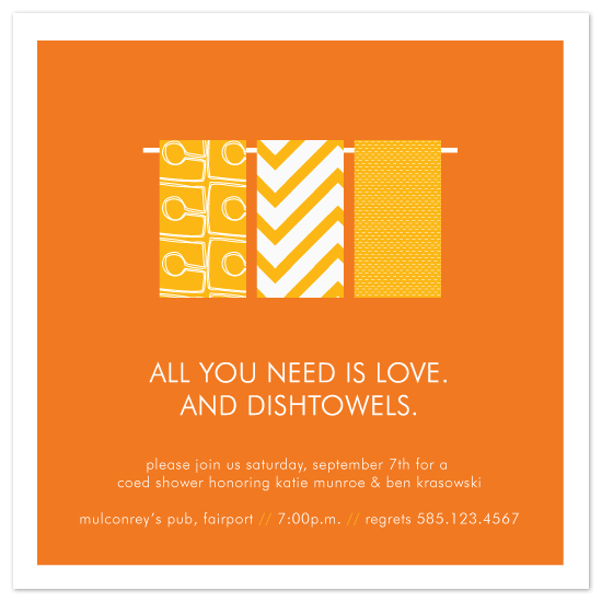 shower invitations - love and dishtowels by Up Up Creative