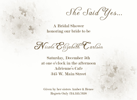 shower invitations - She Said Yes by a visual concept