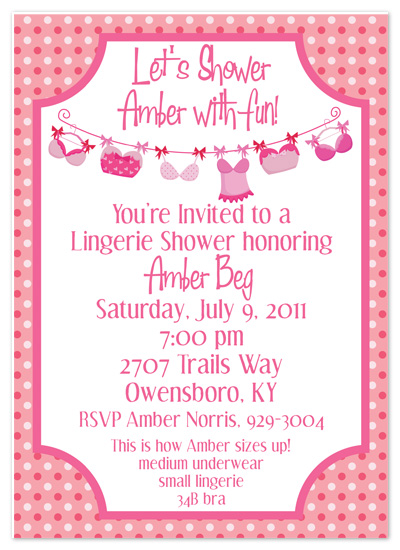 shower invitations - Lingerie Fun by Amy Pearson