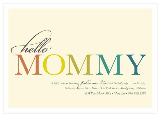 shower invitations - Hello Mommy by Snow and Ivy