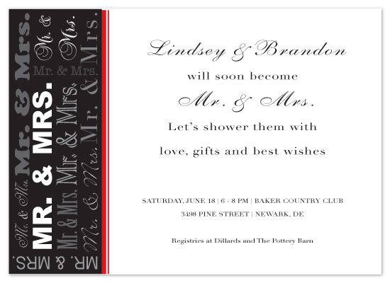 shower invitations - Mr. and Mrs.  by Joyful Heart Design