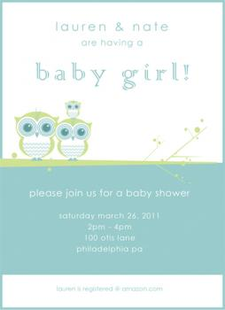 Owl Family Baby Shower Invitation