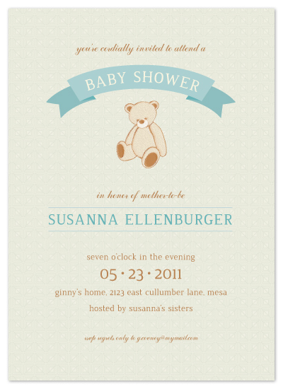 shower invitations - teddy nostalgia by Kimberly Morgan