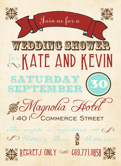 shower invitations - Vintage Typography Poster by Courtney Warren Come Together Cards