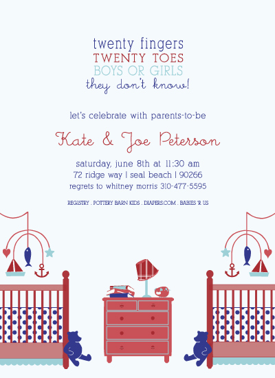 shower invitations - Nautical Nursery built for 2 by Michelle Poe