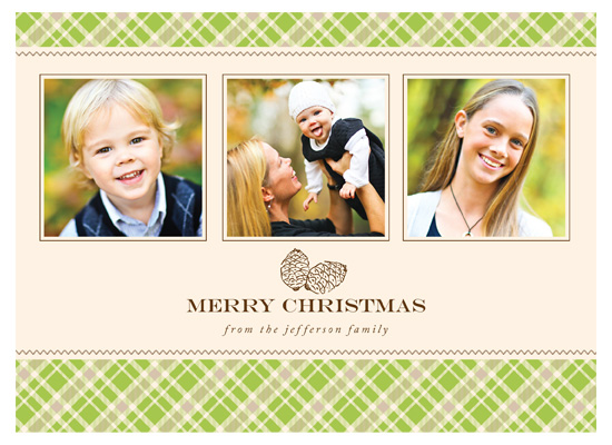 holiday photo cards - Plaid Pinecone by Kim Nelson