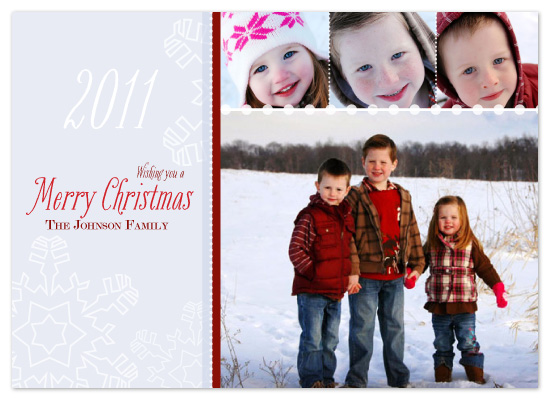 holiday photo cards - Snowy Flakes and Dots Christmas by Potluck Design