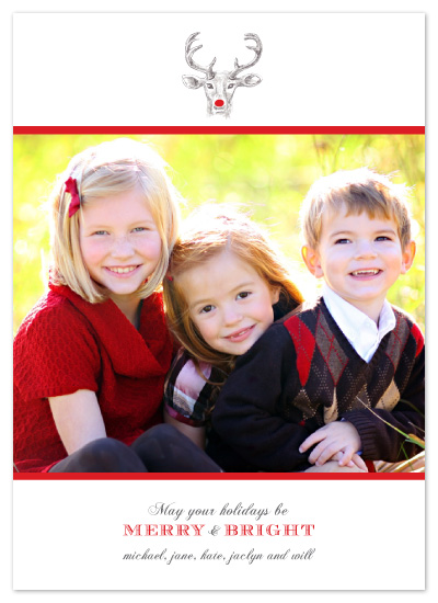 holiday photo cards - Red Nose Reindeer by Whitney Beard