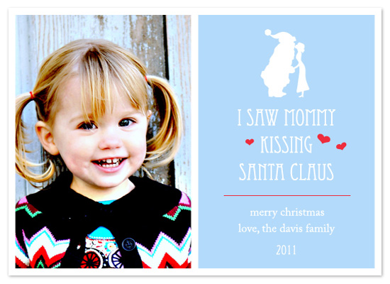 holiday photo cards - Mommy Kissing Santa by Scriptiva Paper