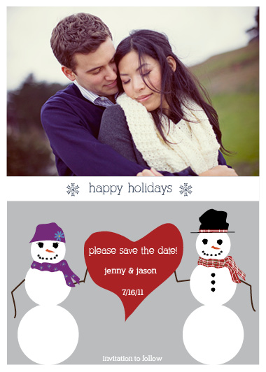 holiday photo cards - Snowman Save the Date by Cassie Schneider