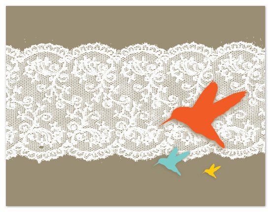 personal stationery - Birds and Lace by Bloom Art and Design