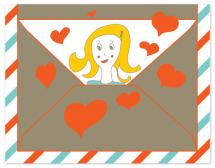 Hi with love envelope by Géraldine Adams